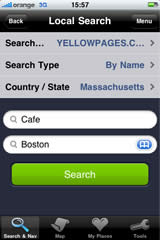 iPhone screen — Local search