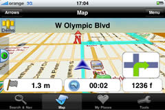 iPhone landscpae screen — 'Bird view' navigation over street map