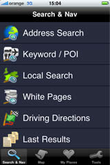 iPhone screen — Search option
